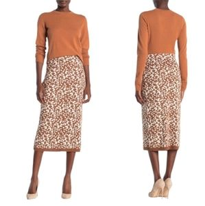 (14th & Union) Midi Knit Animal Sweater Skirt M